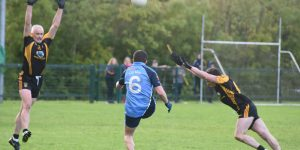 Kilmore centre-back Colm Garvey kicks the winning point for his side against Fuerty on Sunday last. Pic: Michael McCormack