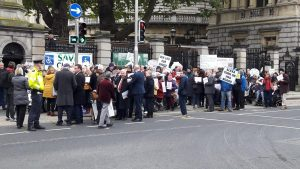 Demonstations outside the Dail over the proposed closure of Cuisle