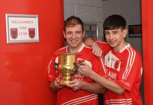 Father and son, David Wynne Snr. and Jnr., who won a Junior A Football Championship title with Ballinameen in October. Picture: Gerard O'Loughlin